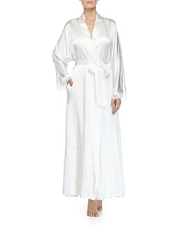 Bijoux Lace-Trimmed Long Robe, Pearl