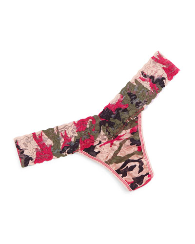 Huntress Low-Rise Camo-Print Lace Thong, Multicolor