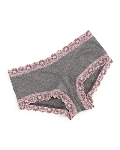 Lace-Trimmed Heather Jersey Boyshorts, Gray