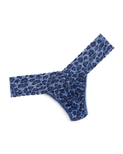Low-Rise Leopard-Print Lace Thong, Denim Cat