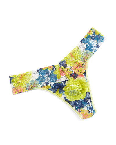 Garden Chic Original-Rise Floral-Lace Thong, Multicolor