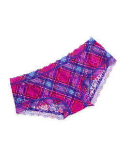 Signature Lace Berry Plaid Boyshorts, Multicolor