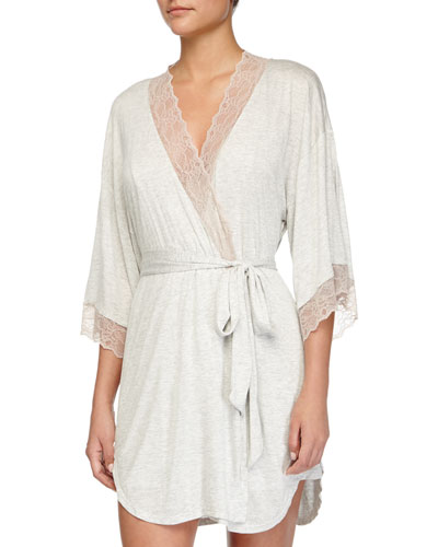Lace-Trim Short Robe, Marble/Rose
