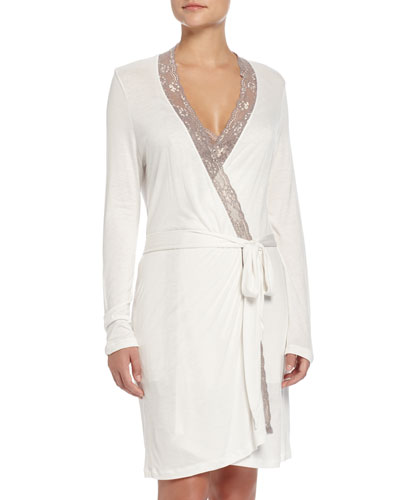Delphine Lace-Trimmed Robe, Mink