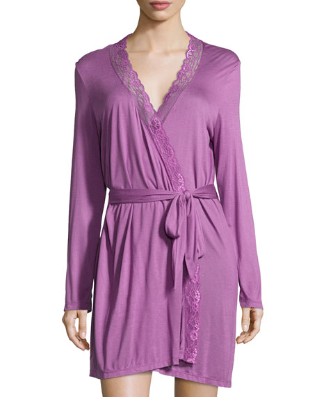 Eberjey Francine Lace-Trimmed Robe, Woodberry
