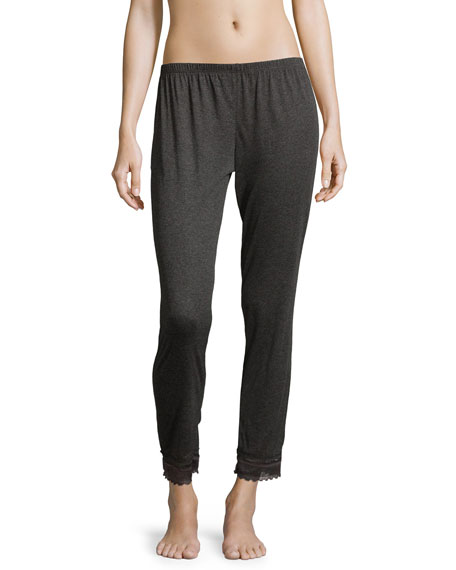 Eberjey Cece Lace-Trimmed Cropped Lounge Pants, Thunderstorm