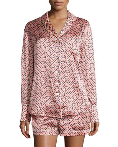 Alba Mizuki Printed Shorty Pajama Set, Coral