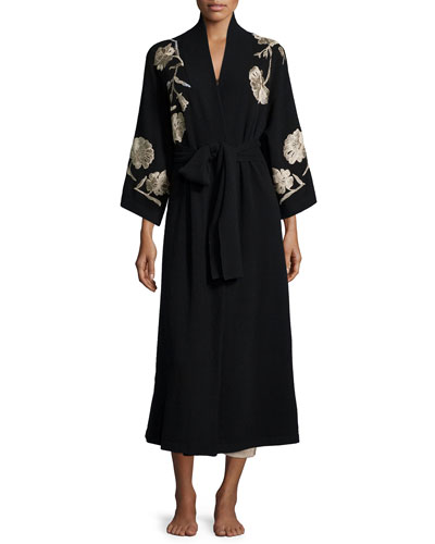 Embroidered Cashmere Robe, Black