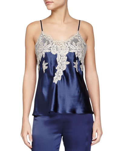 Macy Lace-Trimmed Cami, Navy/Sand
