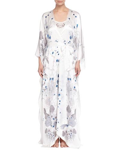 Printed Satin Long Robe, White Pattern