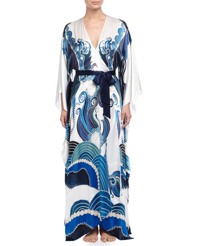 Zod Printed Long Robe, Blue Pattern