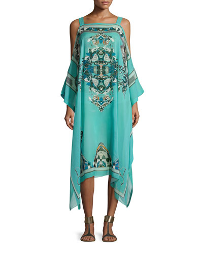 Printed Open-Shoulder Dress, Teal