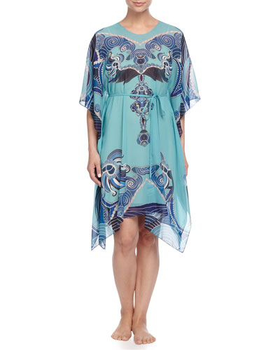 Zod Printed Silk Tunic, Teal