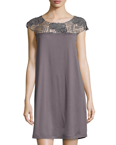 Savona Lace-Yoke Cap-Sleeve Gown, Sparrow