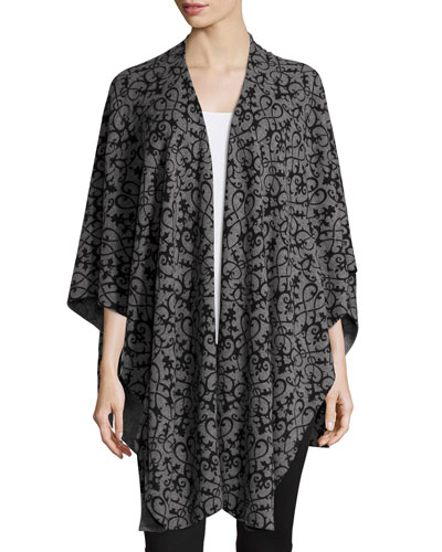 Drape-Front Scroll-Print Cashmere Shawl, Gray/Black