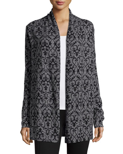 Open-Front Scroll-Print Cardigan, Gray/Black