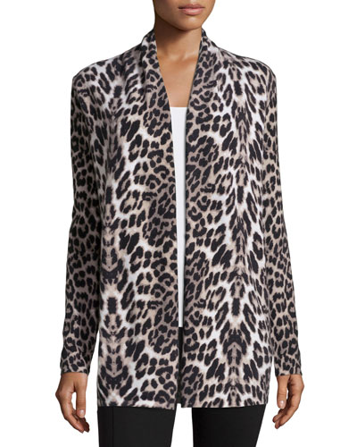 Open-Front Cashmere Cardigan, Animal Print