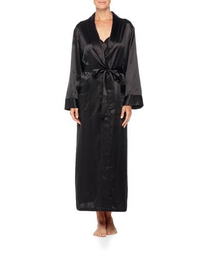 Kimono-Sleeve Silk Long Robe, Black
