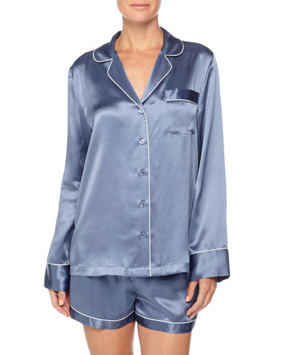 Contrast-Trim Long-Sleeve Shortie Pajama Set, Steel Blue