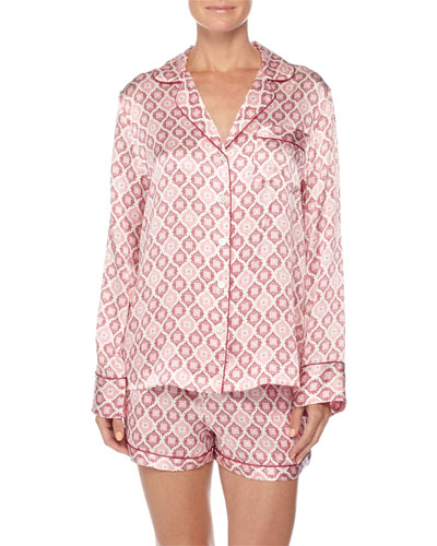 Contrast-Trim Long-Sleeve Shortie Pajama Set, Holiday Print