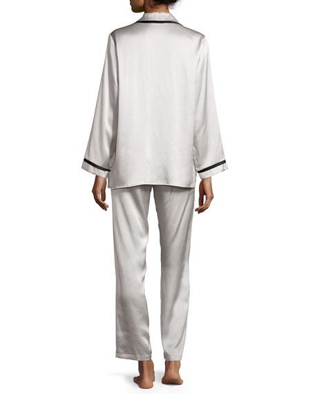 Solid Silk Pajama Set, Antique Silver