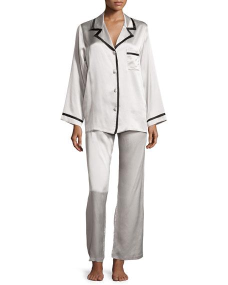 Christine Solid Silk Pajama Set, Antique Silver