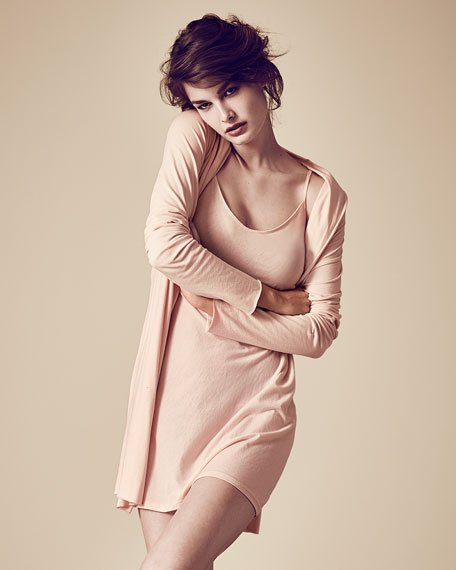 Jersey-Knit Wrap Robe, Rose Quartz