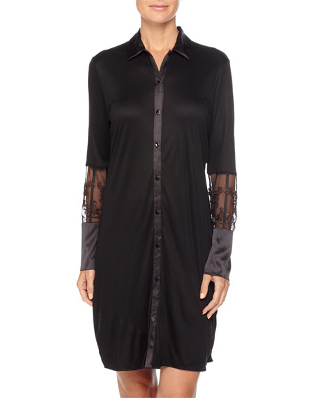 Floralia Long-Sleeve Sleepshirt W/Lace Detail, Black