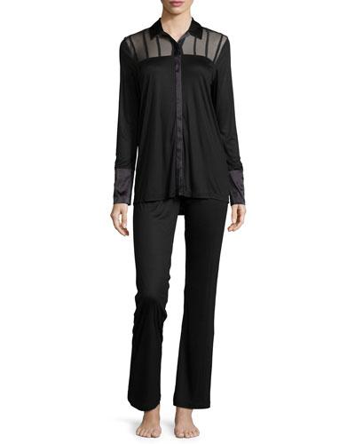 Floralia Long-Sleeve Pajama Set, Black