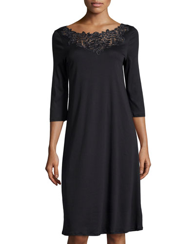 Isabeau Lace-Trimmed Gown, Black