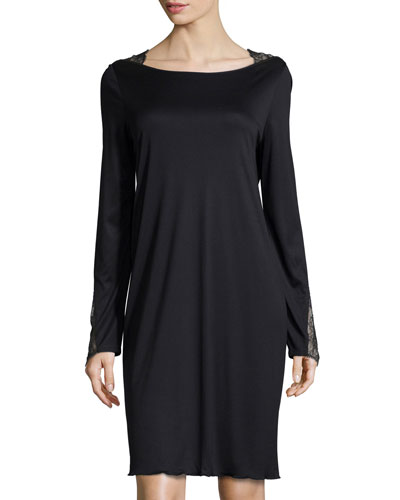 Constance Lace-Trim Long-Sleeve Gown, Black