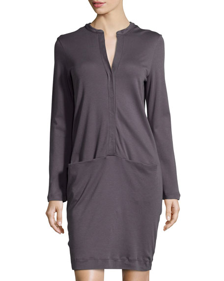 Hanro Clarisse Long-Sleeve Gown, Charcoal