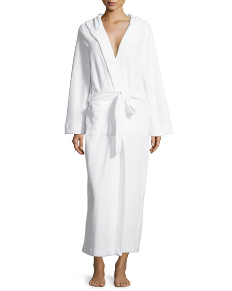 HanroLong Hooded Plush Robe, White