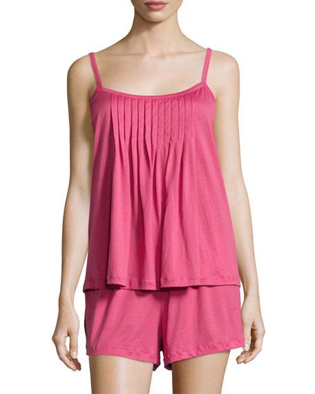 Hanro Juliet Pintucked Shorty Pajama Set, Very Berry
