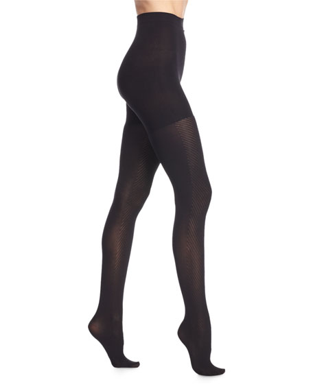 Spanx Diagonal-Contrast Sheer Tights, Very Black