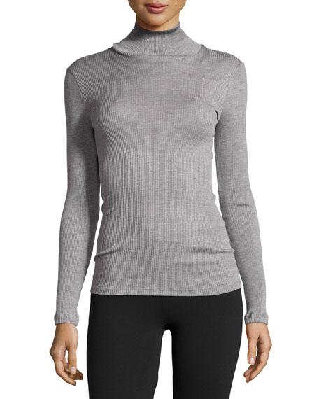 Hanro Leontine Long-Sleeve Turtleneck Top, Silver