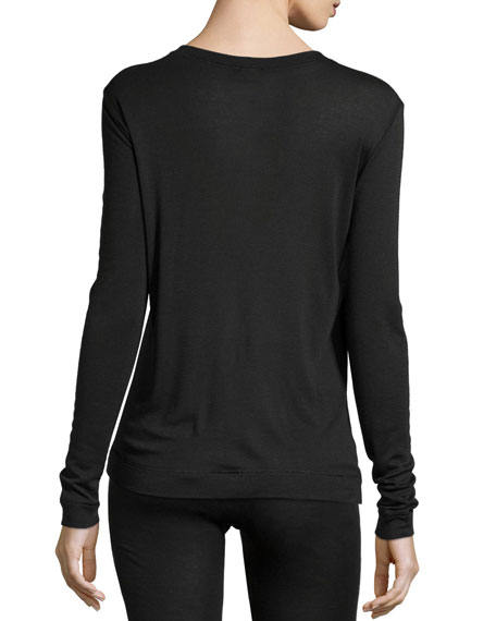 Cashmere-Silk Blend Long-Sleeve Top, Black