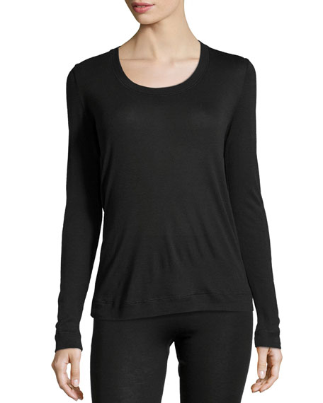 Hanro Cashmere-Silk Blend Long-Sleeve Top, Black