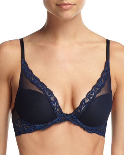 Feathers Contour Plunge Bra, Midnight