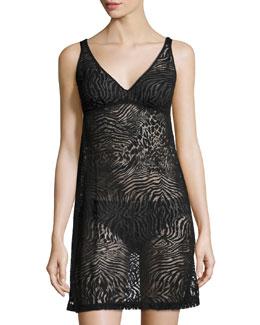 Keri Animal-Print Slip Dress, Black