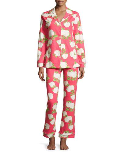 Rouge Hydrangea Classic Pajama Set, Red