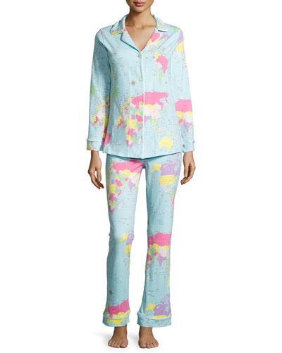 Around The World Knit Pajama Set, Aqua