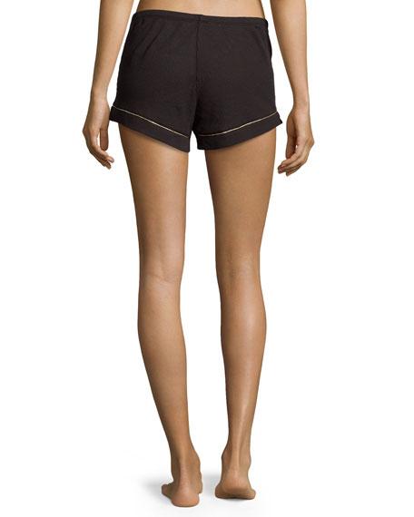 Contrast-Piping Pajama Shorts, Black
