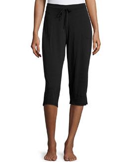 Drawstring-Waist Cropped Pants, Black