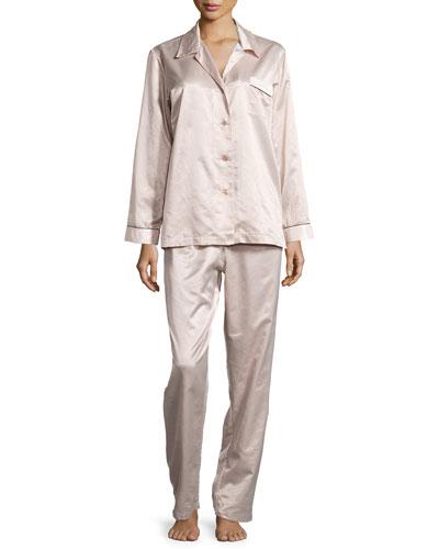 Monaco Piped Long-Sleeve Pajama Set, Blush/Cream
