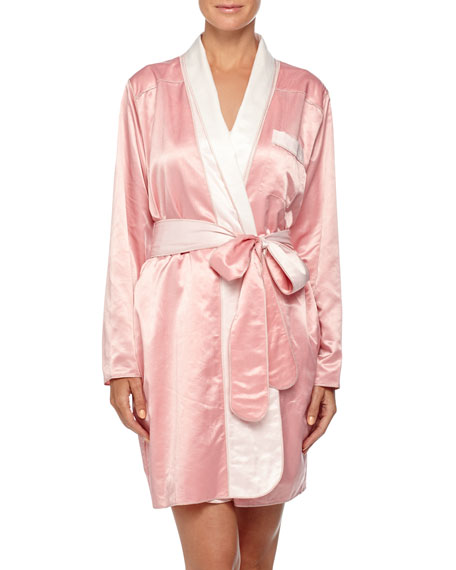 Louis at Home Riviera Satin Short Robe, Coral