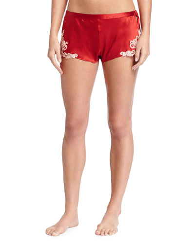 Maison Lace-Trim Tap Shorts, Red/Gold