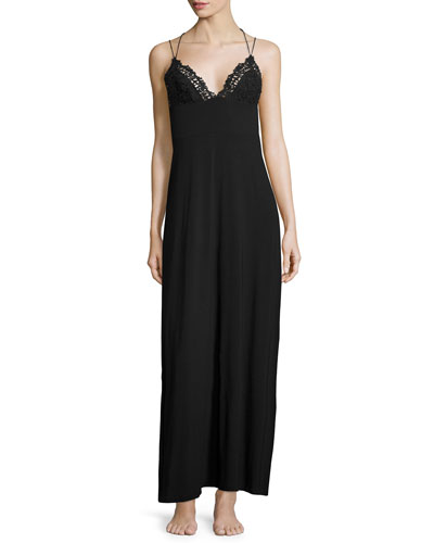 Petit Macrame Lace-Trim Long Gown, Black