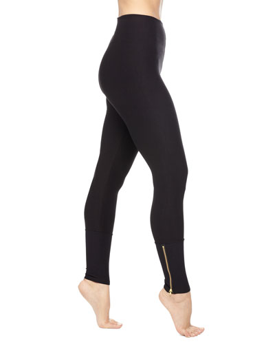 Zipper-Cuffs Control Leggings, Black