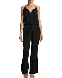 Sleeveless Gauze Lounge Jumpsuit, Black